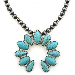Jewelry - Big Turquoise Squash Blossom Navajo Pearl Necklace